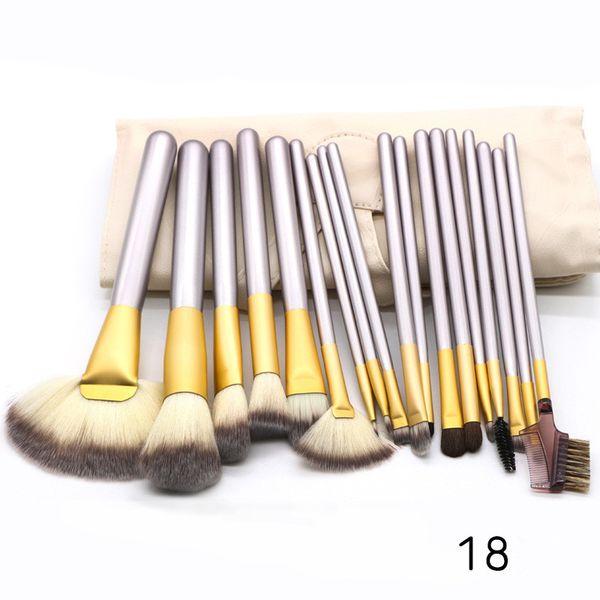 2018 12PCS 18PCS 24Pcs cremoso blanco Maquillaje Cosmético Base cepillo Set Kit Pinceles de maquillaje Estuche de cuero mango de madera A289