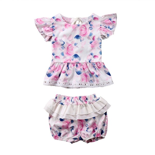 Summer Newborn Baby Girl Clothes Floral Floral Top+Shorts 2PCS Lace Outfits Bebek Giyim Toddler Kid Girls Cute Clothing Set Wear