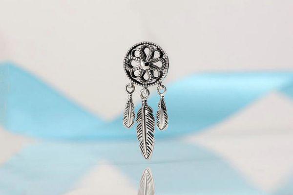 5 pcs/lot Dream catcher Charm S925 sterling silver fits pandora style bracelets Spiritual dangle ale 797200