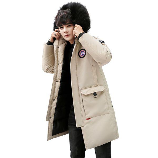 HETOBETO New Men's Winter Jacket Mens Plus Hooded Padded Male Casual Warm Fleece Fur Collar Parkas Cold Winter Coat