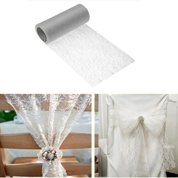 15cmx10Y Gold Wire Tissue Tulle Roll Spool Craft DIY Wedding Party Decoration Organza Sheer Gauze Table Runner