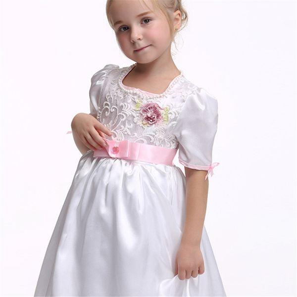 Children's Dance Modern Costume Cute Fashion Handmade Bow Solid Color Dress Fashion Princess Dress Waist Short Sleeve Skirt