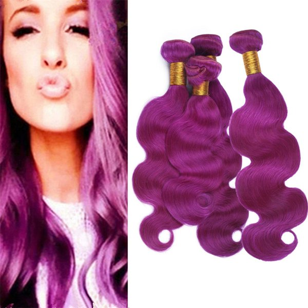 Body Wave Wavy Light Purple Virgin Peruvian Human Hair Weave 4Pcs Lot Purple Pink Hair Double Wefts Extensions 400g Lot Mixed Length