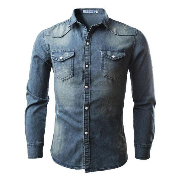 Le camice dei jeans degli uomini di stile alla moda di vendita calda 2018 casuali si vestono sottili alla moda Manicotto lungo lavato maschio solido Camicie di jeans Top