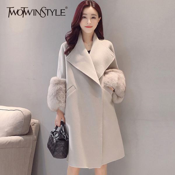 TWOTWINSTYLE Casaco De Pele De Lã Trench Coats Para As Mulheres Inverno Plus Size Grosso Quente das Mulheres Elegantes Blusão Solto Casual Moda