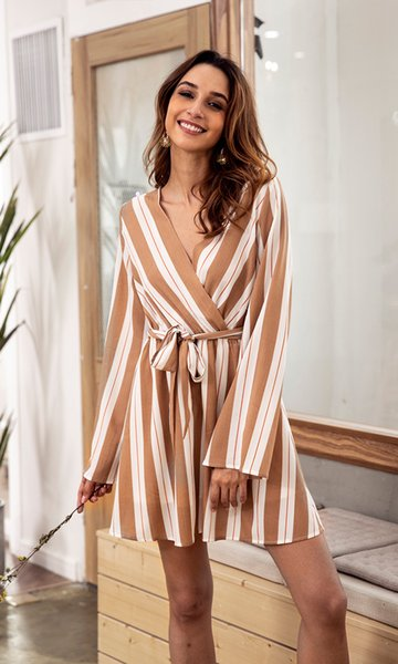 champagne Fashion Women Autumn Winter Striped Mini Dress Sexy V Neck Long Sleeve Lace Up Dresses Ladies Casual Dress