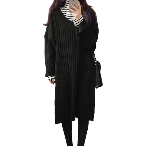 Estilo coreano Camisola Vestido Mulheres Inverno 2018 Casual V Neck Manga Longa Solto Vestidos De Malha Dividir Costela Hem Outono Longo Pullover