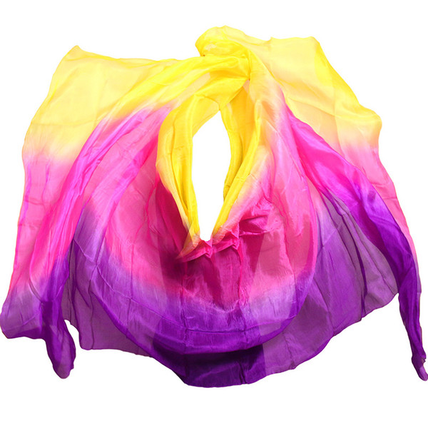 hat 2019 design 100% real silk belly dance veil, cheap dance veils,tari veil wholesale 250 270*114cm Yellow Rose Purple
