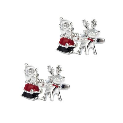 Christmas Old Man Reindeer Cufflinks Red Epoxy Painted Sleeve Nail Men's French Shirt Cuff Button Gift