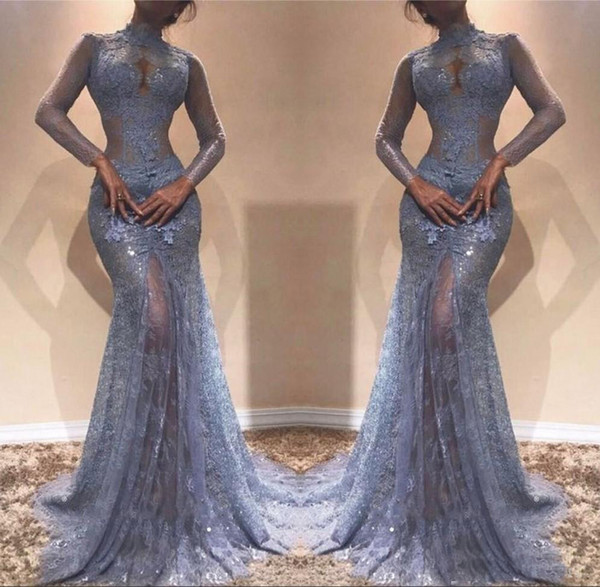Illusion See Through Lace Evening Gowns 2018 Mermaid High Neck Sheer Long Sleeves Appliques Long Pageant Party Dresses Prom Dress Vestidos