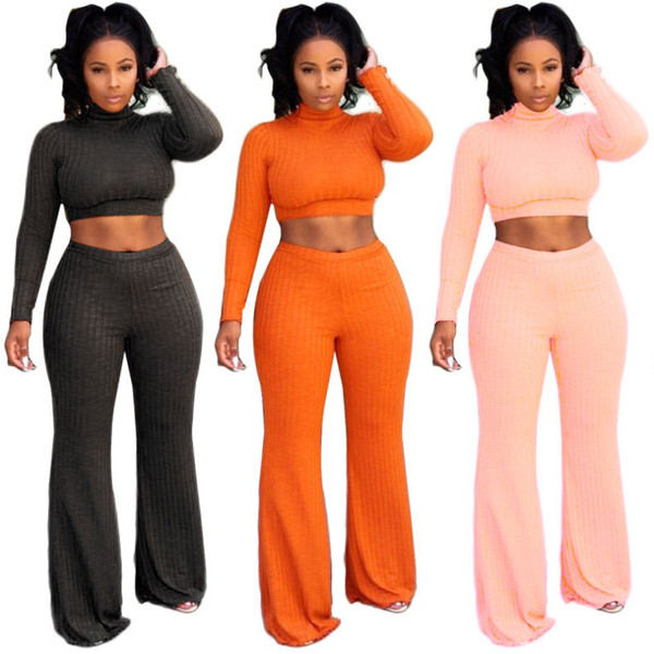 women long sleeve rib outfits 2 piece set sweat suit bodycon pullover+loose pants clubwear designer clothes hot L8