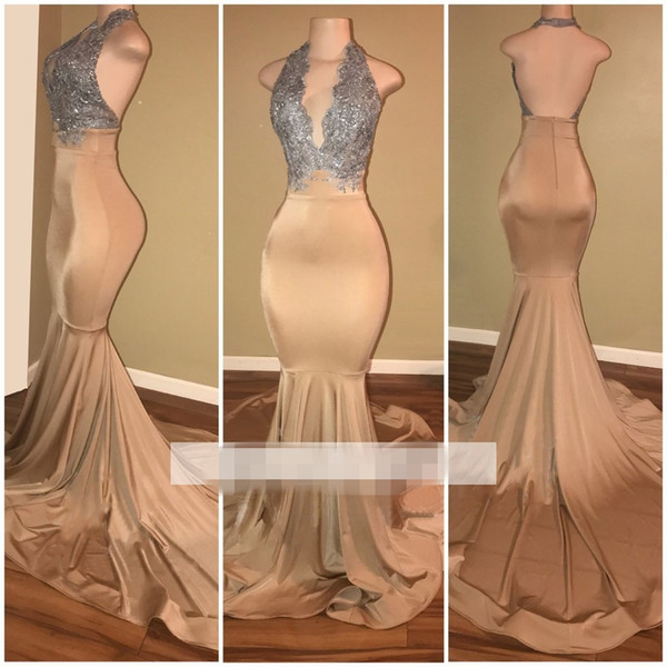 2019 Sleeveless Mermaid Prom Dresses Halter Applique Lace Luxury Shining Silk Like Satin Formal Evening Dresses Custom Made Hot Sale