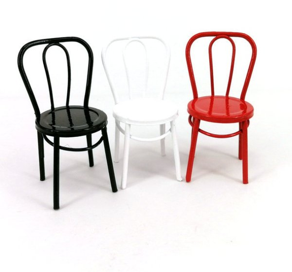 1:12 Scale Alloy Chair Dollhouse Miniatures Mini Furniture Doll Dining Room Decoration Red