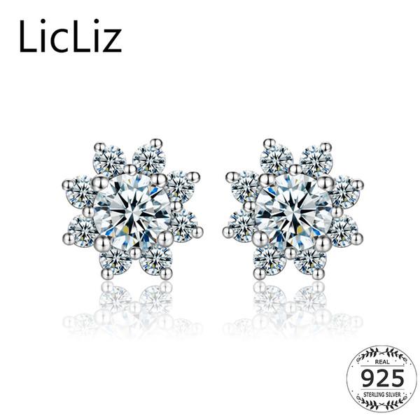 LicLiz 925 Flower Stud Earrings Women Sterling Silver Ear Studs Pierced Prong Cubic Zirconia Halo Solitaire Earrings Post LE0322