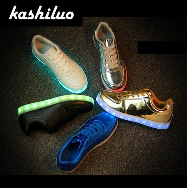 EUR 31-46 Luminous Sneakers USB Charge Led Children Shoes Boy Girl Men Women Glowing Tennis Kids Light up Shoes