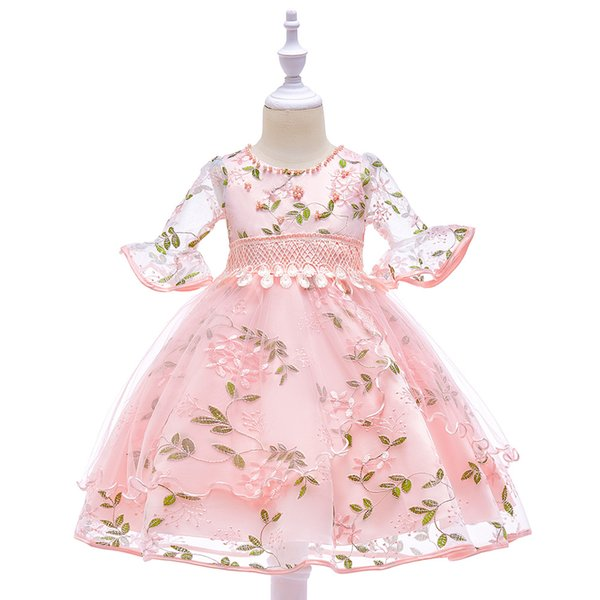 Charming Half Sleeve Lace Girls Pageant Dress Jewel Pearls Puffy Skirt Kids Formal Birthday Christmas Party Gown Flower Girl Wear Wedding