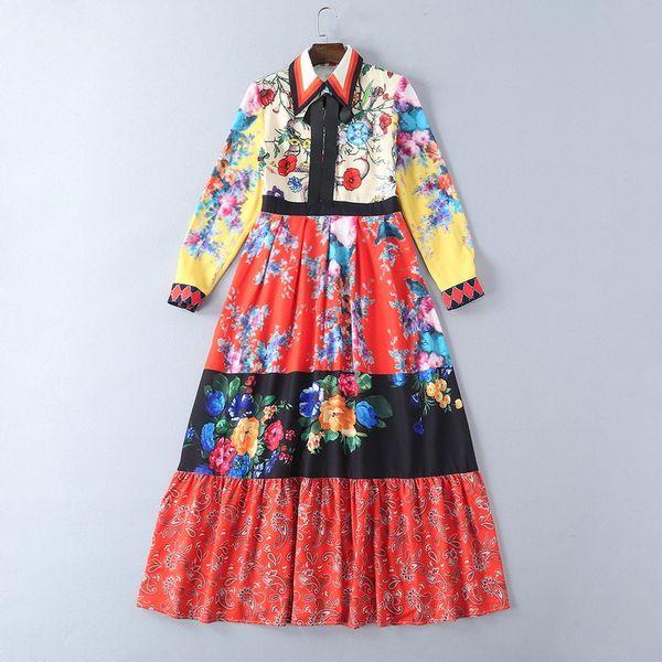 2018 Ladies Luxury Floral Print Ribbon Tied Bow Lapel Collar Long Maxi Dress Women Long Sleeve Fashion Elegant Dresses YX171022