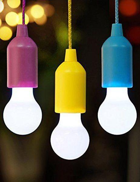 Cambio de color LED Pull Cord Light Mejoras para el hogar Lámparas colgantes Bombilla multicolor LED Tienda para niños Decoración Luces colgantes portátiles para dormitorio