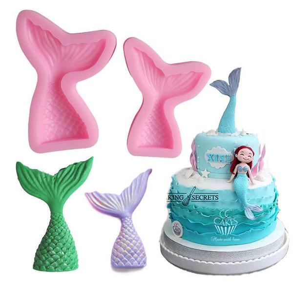LINSBAYWU Christening Mermaid Tail Silicone Mold Fondant Cupcake Cake Decorating Baking Tools Handmade Soap Mold Fish Fork tail