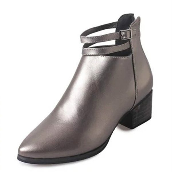Ryamag Autumn Leather Women Martin Boots Korean Style Buckle Female Ankle Boots Shoes Woman British Style Pointed Lady