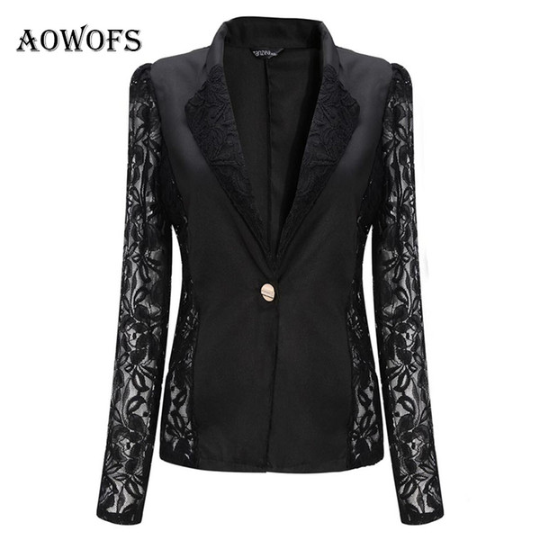 Großhandel Frauen White Blazer Spitze Patchwork Formelle Arbeit Schwarze Jacke Mantel Weibliche Kurze Schlanke Langarm Blazer Eine Taste Frauen Anzug