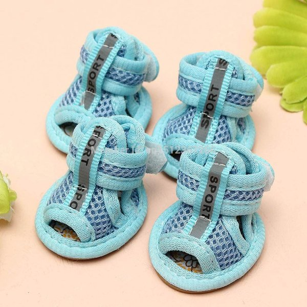 Hot Sale Casual Anti-Slip Small Dog Shoes For Cute Pet Shoes summer Breathable Soft Mesh Sandals Candy Colors 5 Sizes ACL