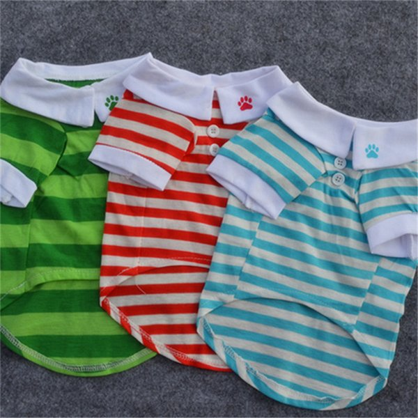 Classic Spring Summer Pet Dog Cotton striped Polo Short Sleeve Shirt 3 colors High Quality Wholesale