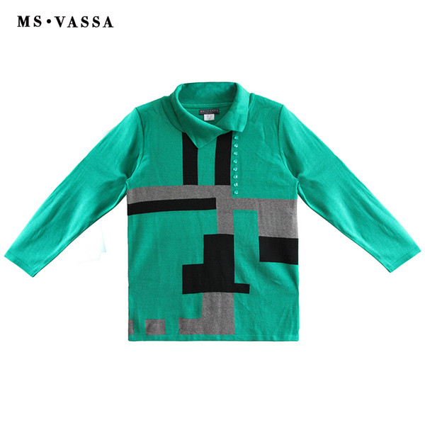 MS VASSA Women Sweaters 2018 New Autumn High-Neck Pullovers Ladies Long Sleeve Stylish Jumpers Winter Oversized Plus Size Tops