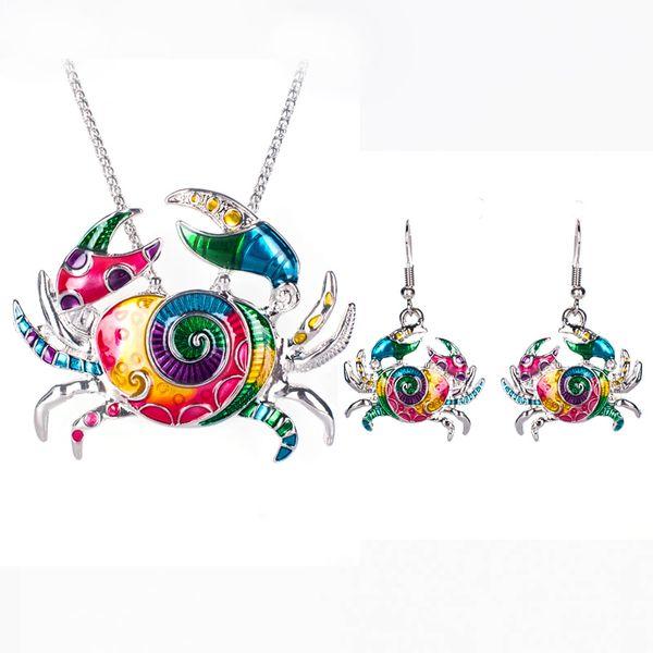 2016 Summer ocean Enamel Crab Jewelry Sets For Women Ocean Crab Necklace Earring Set Unique Punk sandbeach Jewelry Fishing Line
