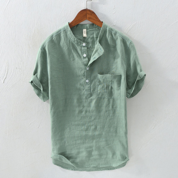 ShallGood Camicie Casual Uomo Maniche Lunghe Lino Stretch Traspirante Pulsanti Camicie Slim Fit Commercio Shirt Estiva Camicie da Spiaggia
