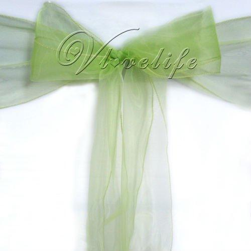 Wholesale-Free shipping by DHL or EMS 100PCS Light Green Organza Chair Sashes Bow Cover Banquet wedding party decorations