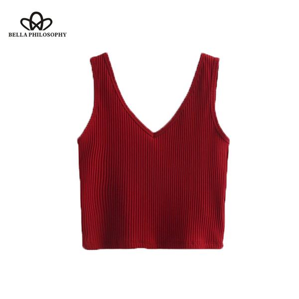 Bella Philosophie 2017 automne hiver casual Tshirt camis courtes femmes solides mode Bottom Tshirt pour les femmes tricoté col V tops