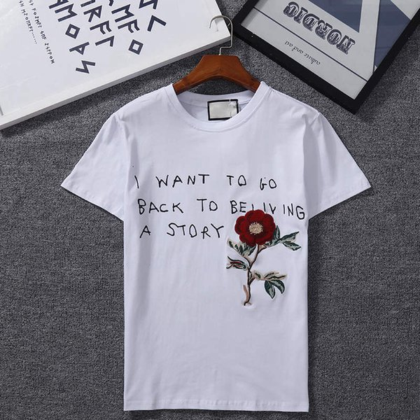 Free delivery of the new summer rose-embroidered T-shirt short-sleeved men slim pullovers round neck t-shirts teenagers half-sleeved shirts