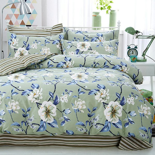 Luxury Floral Cute Children Cotton Bedding Sets 4PCS for Bedroom Duvet Cover+Pillowcases Cartoon Flower Kid Adult Bedding Set