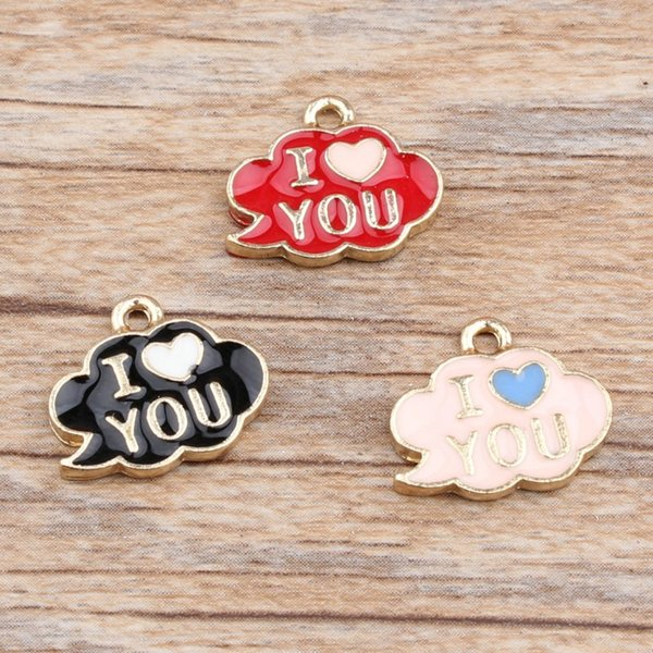 200 pcs/lot 13x15mm, Enamel Cloud Charm Pendant With I Love You, good for DIY Craft Jewlery