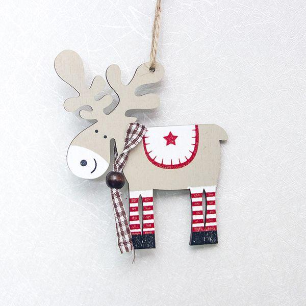 Painted Wood Elk Pendant Christmas Tree Decoration Xmas Decor Deer Ornaments Christmas Hang Decoration