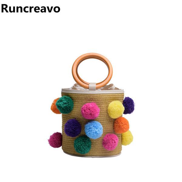 Summer ball totes Bags For Women 2018 Luxury Handbags Women Bags Designer Famous Brand Ladies Rattan Beach Bag Wicker Straw Bag