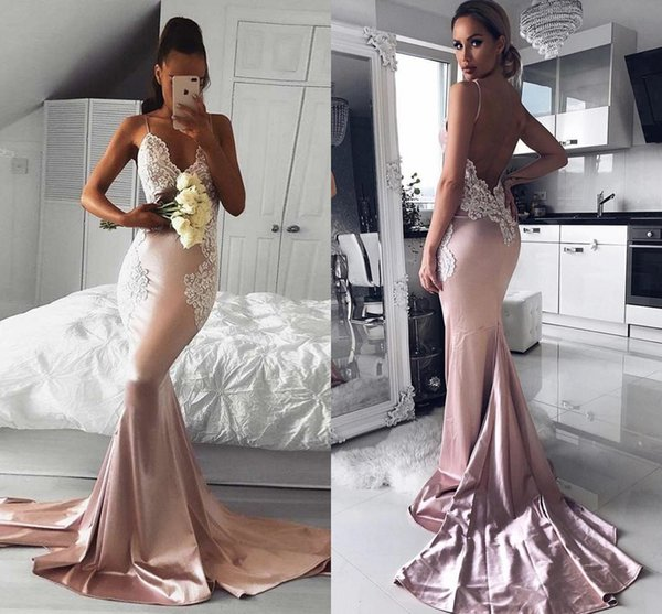 Blush Pink Mermaid Pageant Prom Dresses With Spaghetti Straps Open Back Lace Applique Satin Evening Formal Dress Gowns Cheap Long