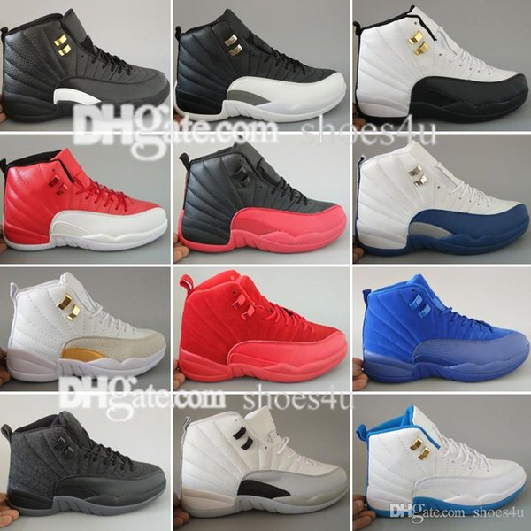 Mens Basketball Chaussures XII 12 Hommes Femmes 12s Flu Jeu Français Bleu s 12s Le Maître Gym Red Taxi Playoffs Chaussures Chaussures de Sport 5.5-13