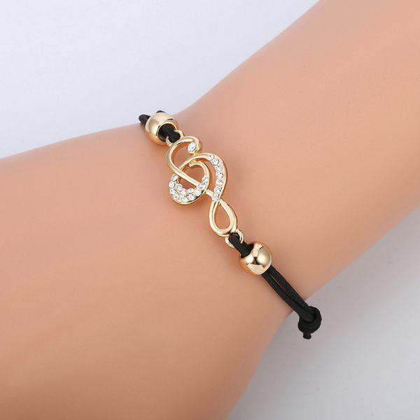 Neue Kreative Design Musical Hinweis Strass Armband Beliebte Individualität Hohe Qualität Vergoldet Armbänder für Frauen Geschenk Modeschmuck