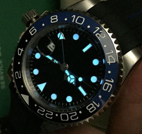 2939db27f6b Luxo AAA Qualidade Superior Aço Inoxidável Relógio Automático Preto E Azul  Cerâmica Moldura Trabalho GMT 16713