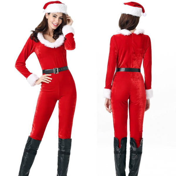 3pcs in 1 Set Sexy Female Long Sleeve Zipper Santa Claus Jumpsuit Luxury Women Christmas Clothes Adult Xmas Cosplay Uniform