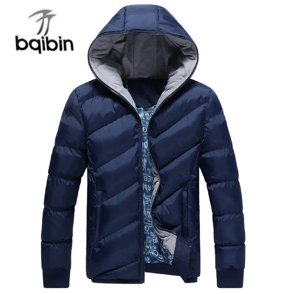 New Mens Parkas Jacket Hooded Thick Cotton-Padded Zipper Warm Casual 2018 Slim Men Fashion Coats Men Parka Outwear 4 Colors