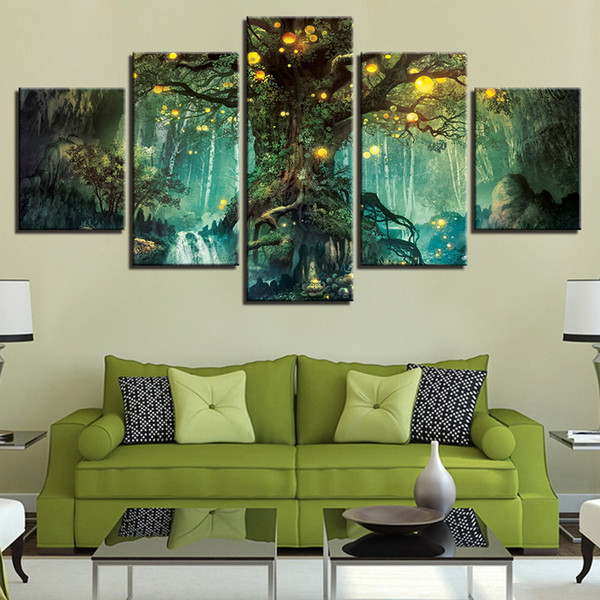 Canvas Pictures Living Room Wall Art Prints 5 Pieces Enchanted Tree Scenery Paintings Magic Forest Posters Home Decor Framework