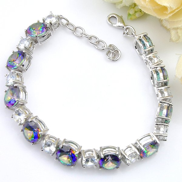 3 Pcs /Lot Luckyshine Round Rainbow Mystic Topaz Gemstone 925 Sterling Silver Plated Bracelet Bangles For Women