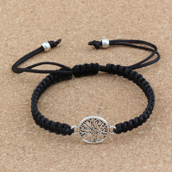 10pcs New men and women fashions Antique silver Alloy Tree of Life charm black Chinese knot line Pure hand-woven Adjustable Bracelet