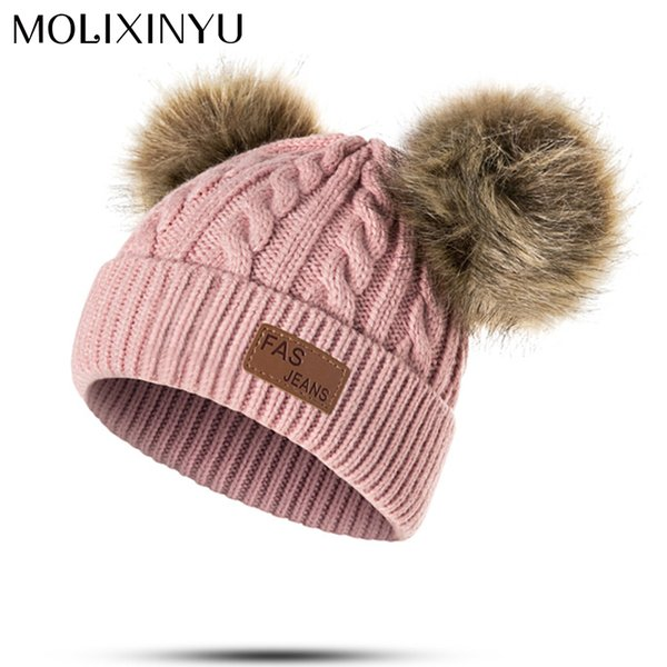 7ef2e7734 2019 2018 MOLIXINYU Baby Boys Girls Pom Poms Hat Children Winter Hat For  Girls Knitted Beanies Thick Baby Hat Infant Toddler Warm Cap From H6241163,  ...
