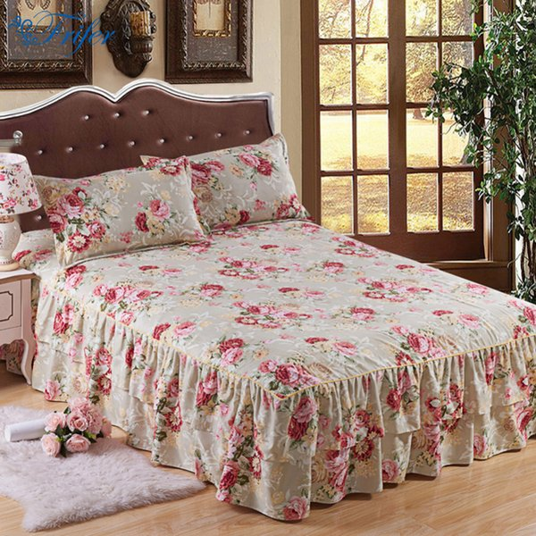 Home Use Floral Printed Cotton Bed Skirt Elastic Mattress Cover Polyester Bed Skirts Bedspread Double Layers Bedskirt 150x200cm