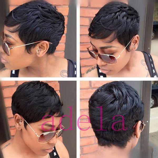 Pelucas cortas del pelo humano para las mujeres negras Pelucas brasileñas del cordón del pelo humano del duendecillo Pelucas llenas del frente del pelo con flequillo