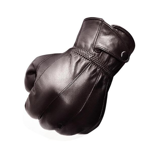 Leather Genuine Lambskin Men's Button Wrist Winter Warm Plush Lining Gloves